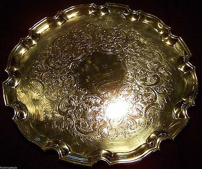 Superb Victorian Antique English Sheffield Silver Chipendale Edged Salver Tray