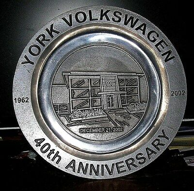 Pewterex Peweter Plate York Pa York Volkswagen 40th Anniversary 1962-2002