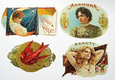 4 Assorted Trimmed Inner Cigar Box Labels From Victorian Scrapbook - Lot #4