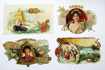 4 Assorted Trimmed Inner Cigar Box Labels From Victorian Scrapbook - Lot #6