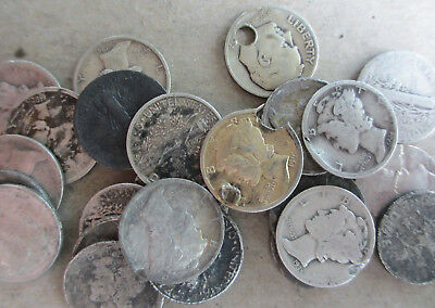 25 Silver Dimes Circulated Damaged $2.50 FV