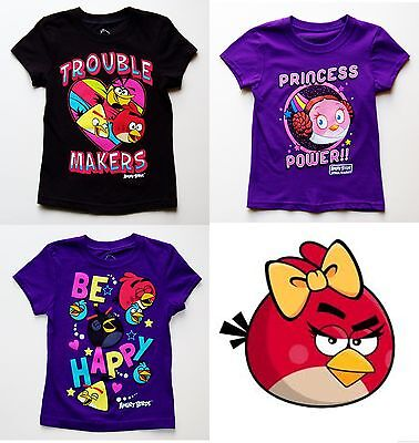 BRAND NEW FREE SHIPPING! ANGRY BIRDS GIRLS T-SHIRTS SIZE 6-6X to 14-16