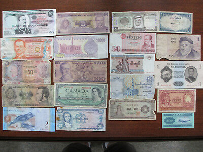 Lot of 20 Foreign Banknotes 20 Different Countries