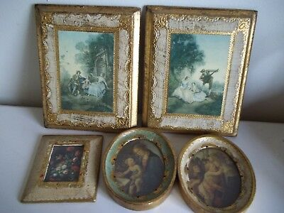 LOT 5 Italian Florentine Tole Prints Pair & Pair Victorian Couple