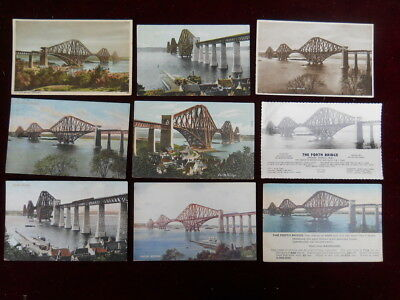 9 Vintage Postcards showing different views of the Forth Bridge