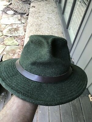 f71dc084bea07 Filson Vintage Virgin Wool Packer Fedora Indiana Jones Style! Forest Green  Small
