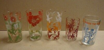 "5 Vintage Colorful Drinking Glasses /flowers/""flying"" Geese/novelty ""archie""."