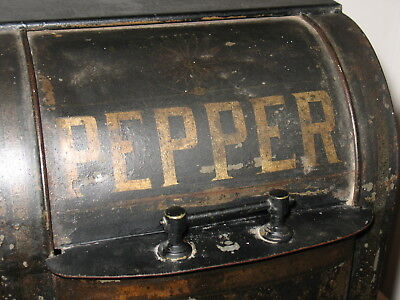 Primitive Antique Chinese Toleware Pepper Bin Roll Top Tin Can Hand Painting