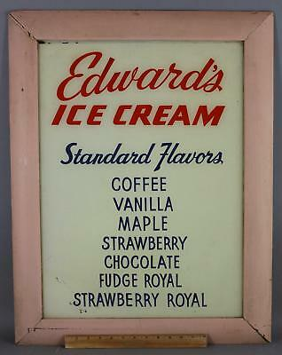 Antique Early 20C Edwards Ice Cream Reversed Painted Glass Advertising Sign