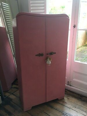 Beautiful Vintage Child's Wardrobe Painted In Dusky Pink Chalk Paint