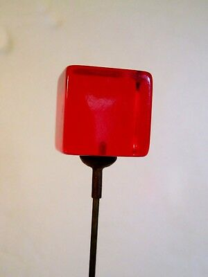 Stunningly Beautiful Unique Ruby Red Bakelite Cube Vintage Antique Hatpin