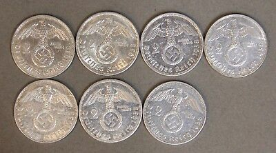 1938 Seven Coin Set (7) Nazi Germany Two Reichsmark Silver Large Swastika WWII