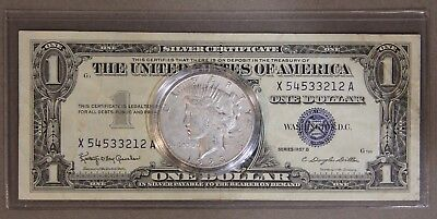$1 Obsolete 1957-B Silver Certificate & 1923-S Peace Dollar Coin/Currency Pair