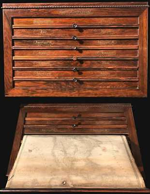 1840 Brué and Picquet Rosewood Map Cabinet w/12 maps
