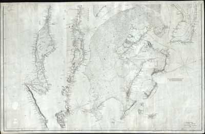 1844 Copley Blueback Nautical Chart or Maritime Map of the Bahamas and Cuba