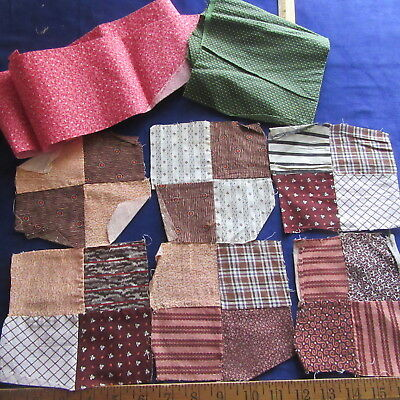 Antique Fabric Lot Calico Dbl Pink Overdyed Green +Madder Quilt Blocks Dolls Sew