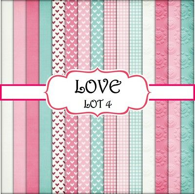 LOVE - LOT 4 SCRAPBOOK PAPER - 15 x A4 pages