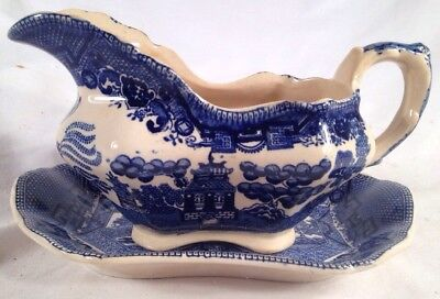 Antique Buffalo Pottery 1911 Blue Willow Gravy/Sauce Boat Dish w/ Under Plate