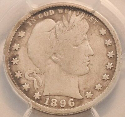 1896 S 25C PCGS Fine Details Barber Quarter, Scarce KEY Date Full LIBERTY Silver