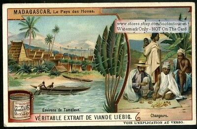 Boats In The Village Of Tamatave Madagascar c1909 Trade Ad Card