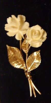 Vintage big carved coconut retro flower brooch pin 1299 picclick lovely vintage double flower pin brooch carved white 12k gold filled mightylinksfo