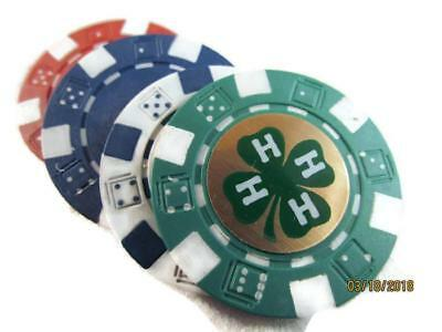 4- 4H 4 H Club Logo Poker Chips Card Guard New