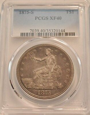 1875 S T$1 PCGS XF 40 Trade Silver Dollar, Scarce Type Coin, Problem Free