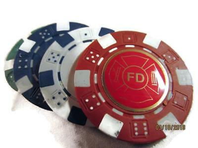 4 Fd Fire Department Logo Poker Chips Card Guard New