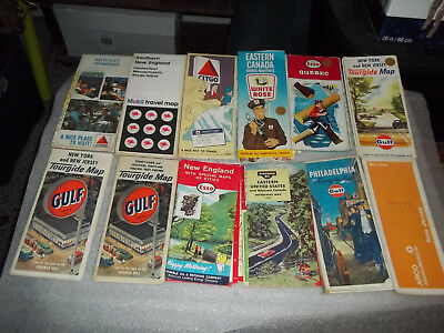 Lot Of 12 Vintage Gas Station Advertising Road Maps Gulf, Esso, White Rose, Etc
