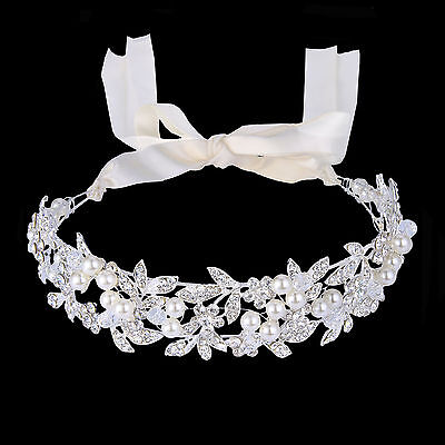 Bridal Pearl Leaf Hair Headband Ribbon Accessories Austrian Crystal Silver Tone