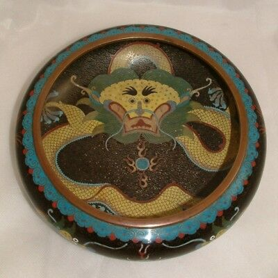 Large Antique Chinese Cloisonne Censer Low Bowl With 5 Footed Dragon - Perfect