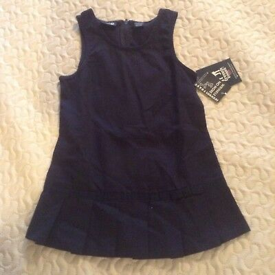 French Toast Uniform Girls 3T Pleated Hem Jumper Dress Navy Blue Ribbon New