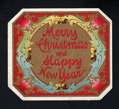 Lithographers Sample Cigar Label - MERRY CHRISTMAS and HAPPY NEW YEAR