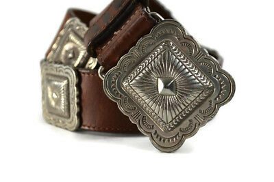 "Handcrafted Concho Leather Belt Stamped 1992 & Signed 28-32"" S/M Sterling Silver"