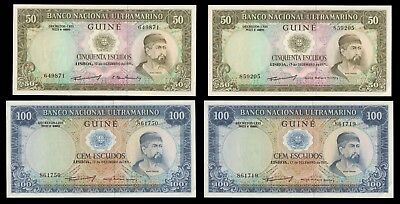 1971 Guiné / Guinea West Africa 50 & 100 Franc (2 each) Uncirculated Banknotes