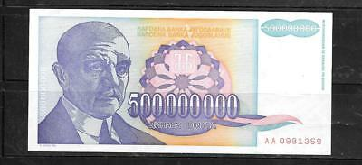 Yugoslavia #134 1993 Vf Used 500 Million Dinara Banknote Paper Money