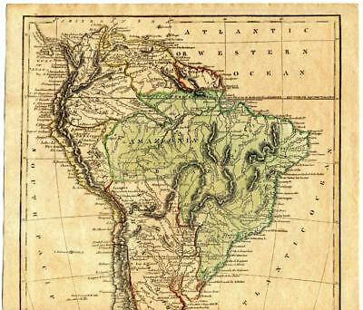 1820 South America Hand Colored Map Cummings Hilliard Jedidiah Morse Amazonia