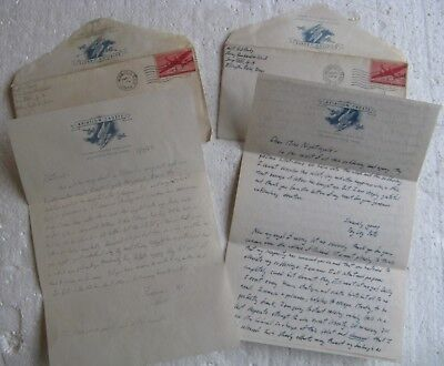2 1943 WWII Letters To Sweetheart frm Air Force Flying School Ellington Field TX