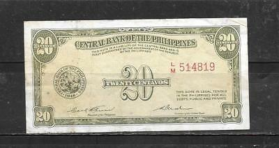 PHILIPPINES #129a 1949 20 CENTAVOS  VG CIRCULATED OLD BANKNOTE PAPER MONEY BILL