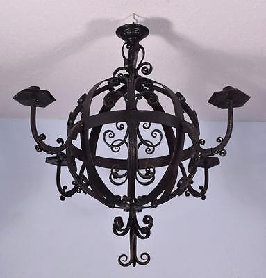 "Large (31"" diameter) Antique French Wrought Iron Chandelier/Hanging Lamp"