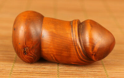 Chinese Old Wood Handmade Carved Feng shui Penis Statue Figure