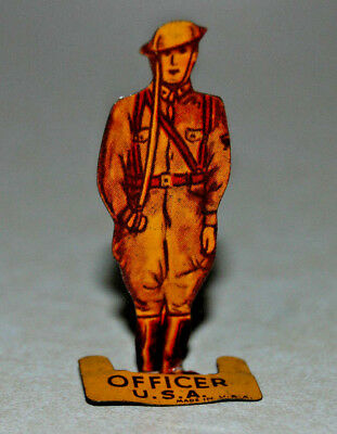 Cracker Jack Premium tin standing toy prize MILITARY SOLDIER OFFICER U.S.A.