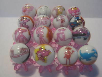 PINK PANTHER & PALS 5/8 size glass marbles lot collection + STANDS