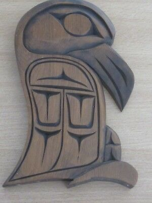 Canadian Indian Wooden Carving of a Raven by Eddie Campbell (Musqueam tribe) 80