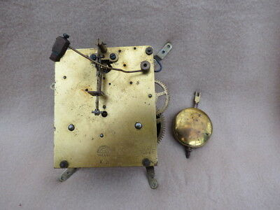 Vintage Haller Striking Clock Movement, Hands, And Pendulum