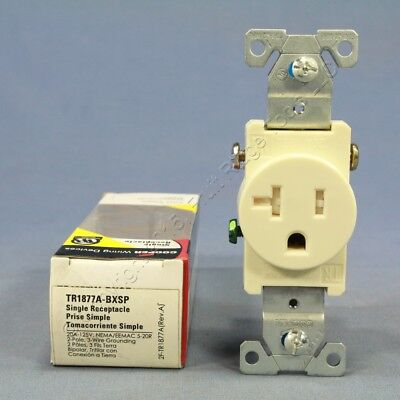 New Cooper Almond TAMPER RESISTANT Single Outlet Receptacle 5-20 20A TR1877ABXSP