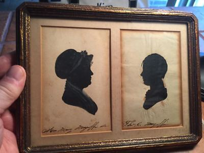 Primitive Early 19th Century Double Sillouettes of Kentucky Magoffin Family