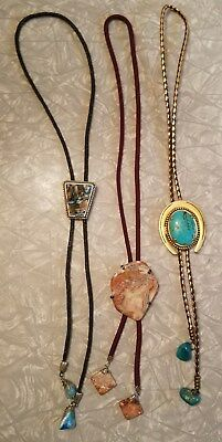 Vintage Estate Jewelry Lot of Polished Mounted Stone Bolo Ties ~ Turquoise Agate