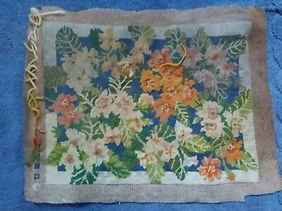 """VINTAGE FLORAL PRINTED TAPESTRY CANVAS  Part worked. 16"""" x 12.5"""" No yarn."""
