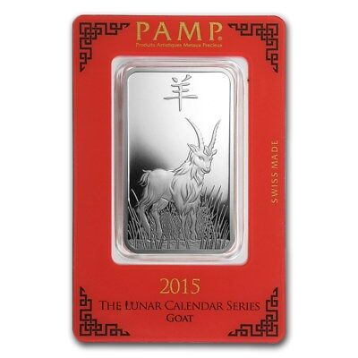 1~OUNCE ~ PURE .999 SILVER~ YEAR of the GOAT ~ PAMP SUISSE ~ SEALED BAR ~ $44.88